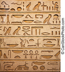 Hieroglyphs on the wall - Egyptian hieroglyphs on the wall
