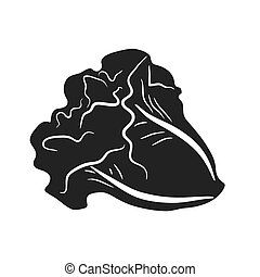 Lettuce gray colored illustration, food icon simple design