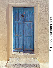 Wooden blue door