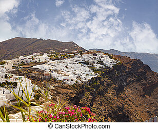 Santorini village landscape - Image of village of Oia...