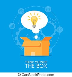 Thinking out of the box vector concept background. Lightbulb showing up from cardboard packing and symbolizing new creative idea