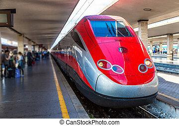 Florence train station Santa Maria Novella - Modern train at...