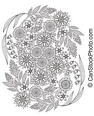 beautiful floral coloring page in exquisite line