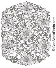 lovely floral design coloring page in exquisite line