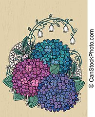 graceful hydrangea coloring page