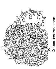graceful hydrangea coloring page in exquisite line