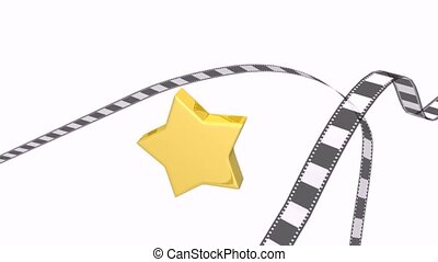 photographic film with star - 3d animation of photographic...