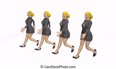 women walking in a row - 3d animation of women that walking...