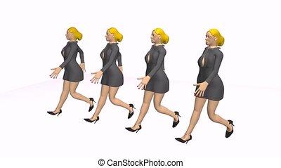 women walking in a row