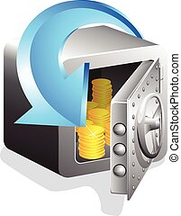 open safe with gold coins  and blue arrow