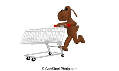 dog with shopping cart - 3d animation of a dog with shopping...