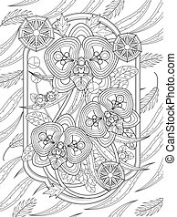 orchid floral coloring page - elegant orchid floral coloring...