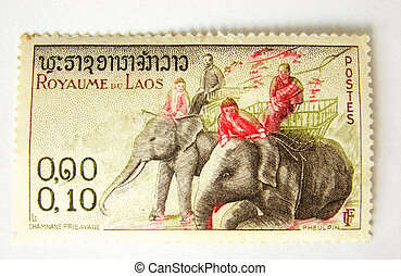 Laos postage stamp with elephant