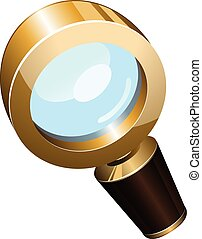 Realistic vector golden magnifying glass