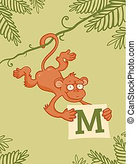 Monkey on liana with letter M