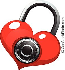 Red heart with shiny metal round combination lock. Vector...
