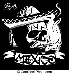 the skull in a sombrero, print T-shirt - Mexico, the skull...