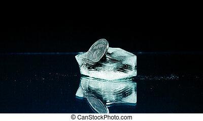 centavos, cinco, hielo