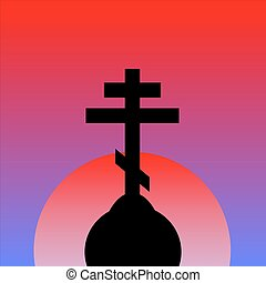 The Orthodox Cross at sunset background Vector illustration...