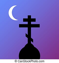 The Orthodox Cross at night Vector illustration