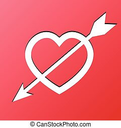 Heart Arrow Love Carving on Red Background