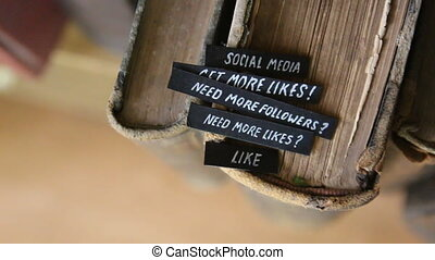 Social media idea - tSocial media concept, text on retro...