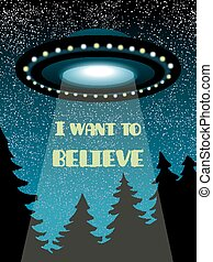 background with UFO - Background with flying UFO, star sky...