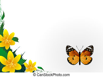 Background with the beautiful butterfly and lateral flower frame.