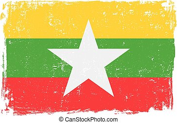 burma flag vectoreps - Burma vector grunge flag isolated on...