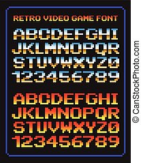 Vector Illustration of Video game pixel font with distortion ...