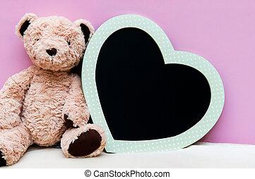 Heart black board on pink