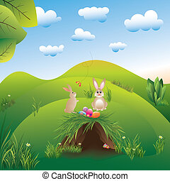 Springtime easter holiday landspace hares in the wonderland