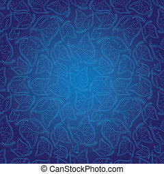 Abstract Indian style blue seamless pattern wallpaper