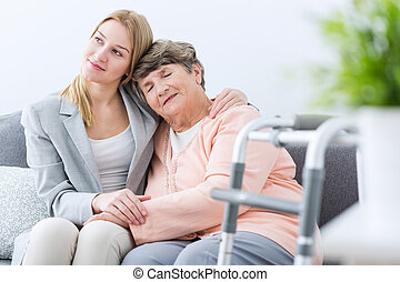 Grandmother and granddaughter being friends - Portrait of...