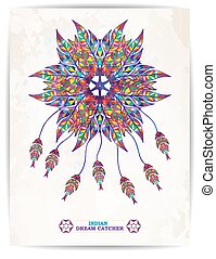 Ethnic background with abstract feathers design. Vector Dream Catcher. EPS10