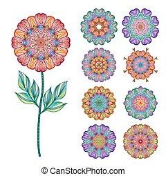 Set of abstract isolated colorful flowers. Vector illustration.