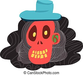 Cartoon red skull and blue hat