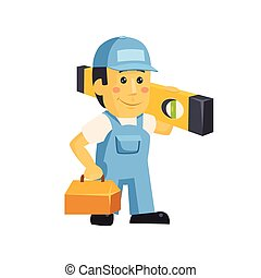 Friendly builder worker man with tools