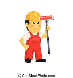 Painter Builder worker characters with painting equipment -...