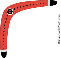 Red and black Australian boomerang, tribal design - Red and...