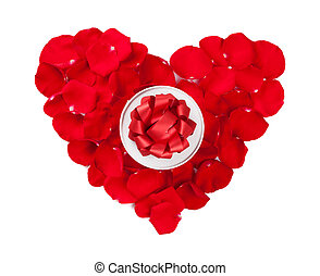 Red rose petals heart and gift box - Red rose petals heart...