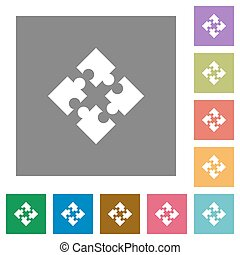 Modules square flat icons - Modules flat icon set on color...