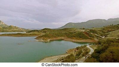 4K Aerial, Flights over barrier lake in Spain, Embalse De...