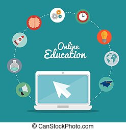 eLearning and education technology graphic design, vector...