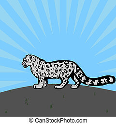 snow cat - illustration of snow leopard walking in nature