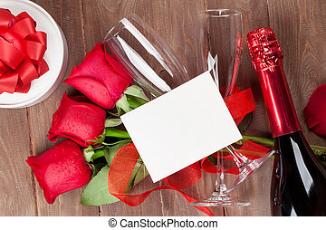 Valentines day card, champagne and roses - Valentines day...