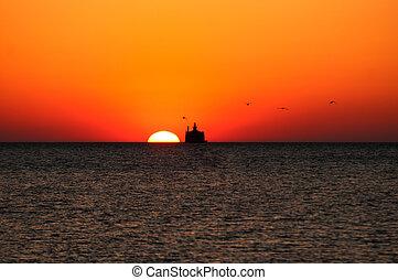 Sunrise, Lake Michigan, Lighthouse and sun