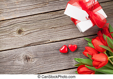 Red tulips and Valentine's day candy hearts