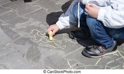 Drawing on sidewalk