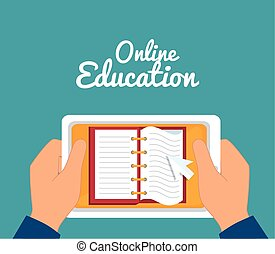 eLearning and technology education graphic design, vector...